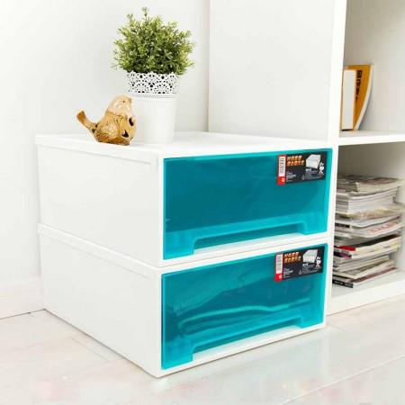 禧天龙 单层随意组合环保抽屉收纳柜2件组 冰蓝