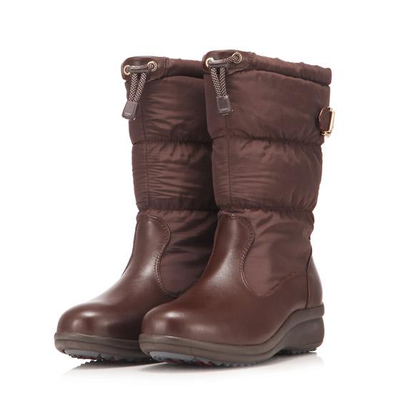 Jellyko 女款羽绒保暖皮靴·咖啡色