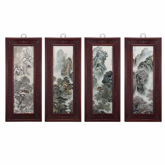 张松茂-春夏秋冬山水四条屏瓷板画