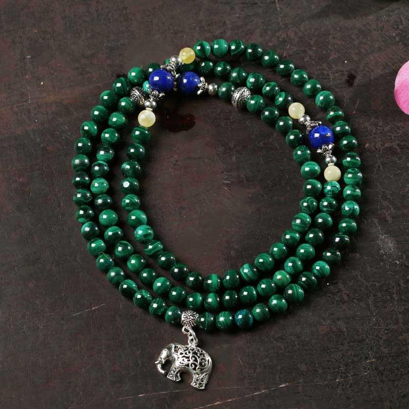 曼丽翠 春意盎然孔雀石佛珠多圈手串·绿色