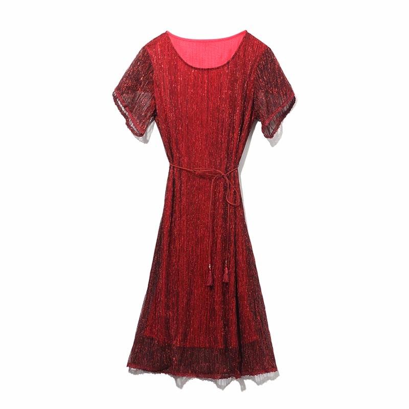 南绣芳 国色天香褶皱连衣裙·2件·女