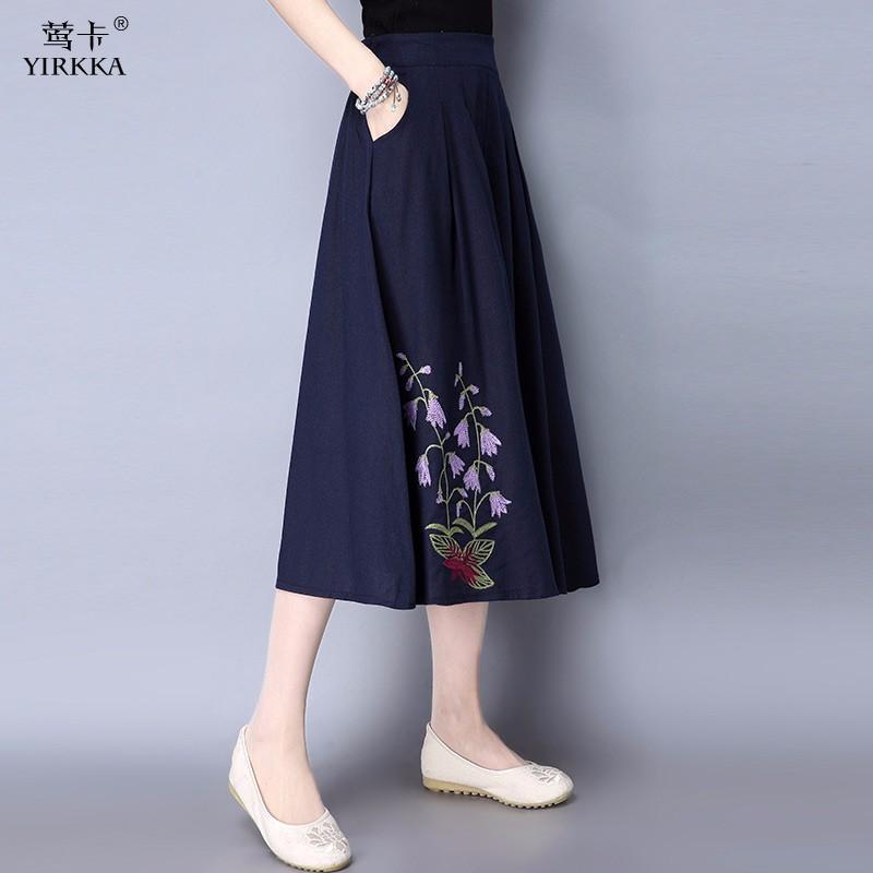 莺卡 气质上衣半身裙棉麻套装·2件·灰色/藏青色