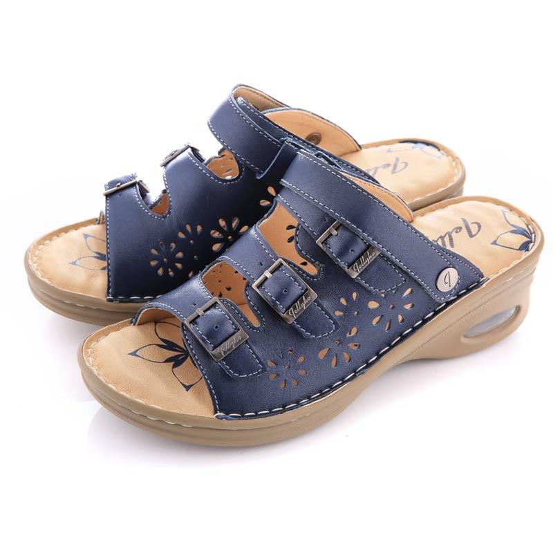 Jellyko牛皮气垫女款凉鞋·珠光蓝