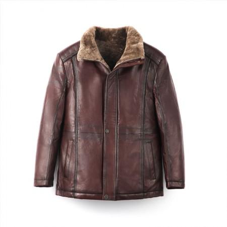 今昇贵族尊品羊毛绵羊皮大衣·深棕