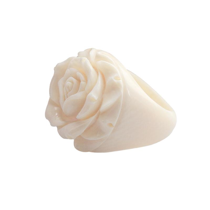 希有猛犸象牙玫瑰花一体雕刻戒指