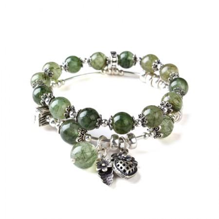 珠来珠往多层复古绿发晶手串