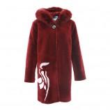 今升超大狐狸毛羊毛大衣·酒红色