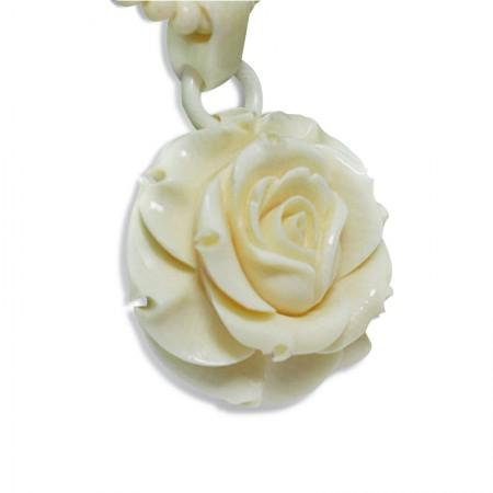 希有 珍藏猛犸象牙玫瑰人生花型吊坠
