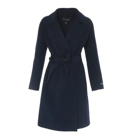 朗姿经典修身羊毛大衣·藏蓝色
