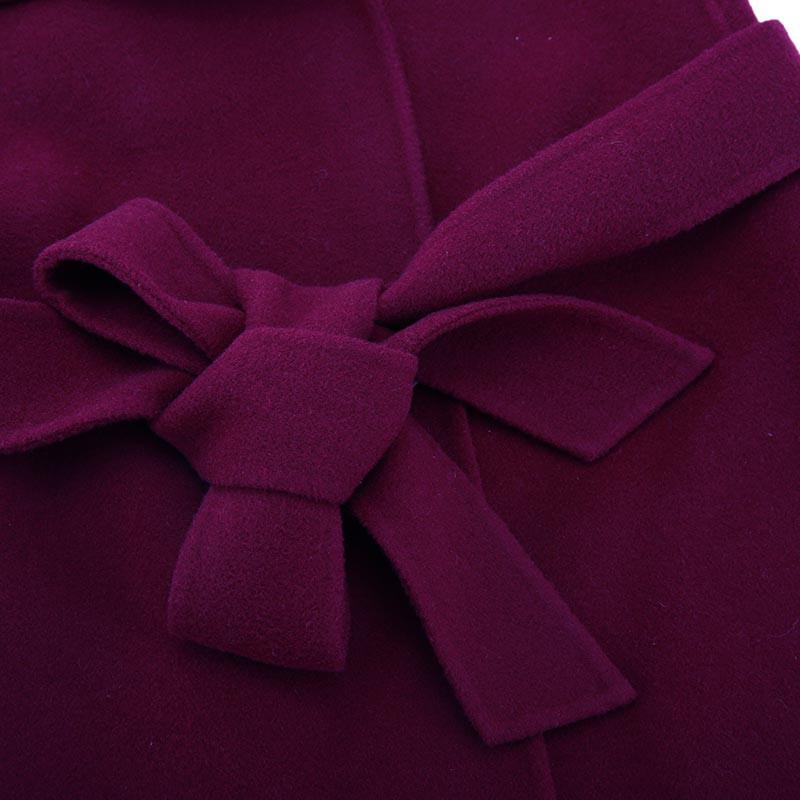 朗姿经典修身羊毛大衣·酒红色