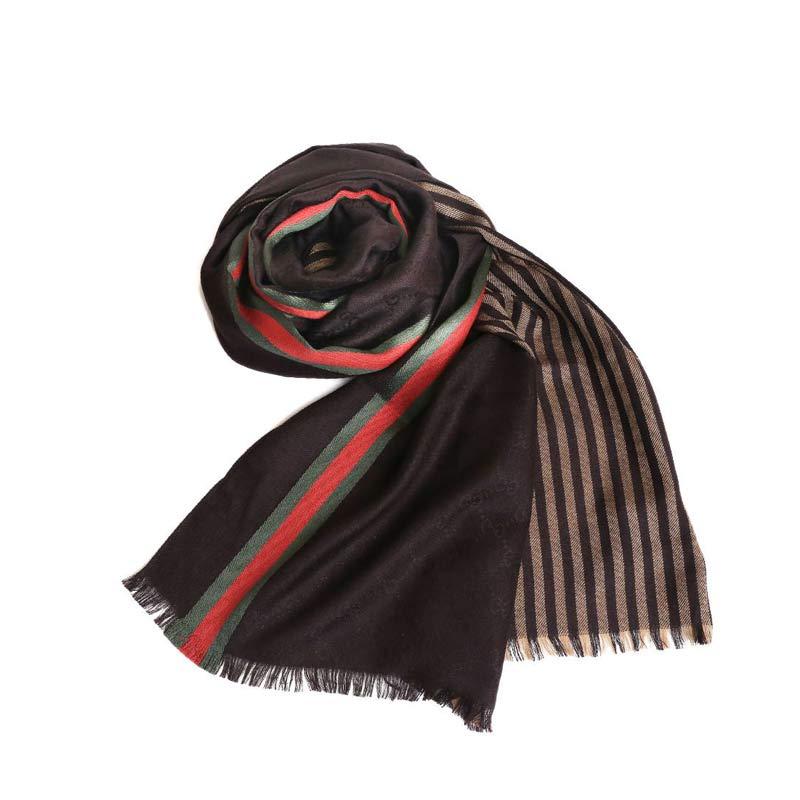 GUCCI经典时尚条纹围巾·深咖色