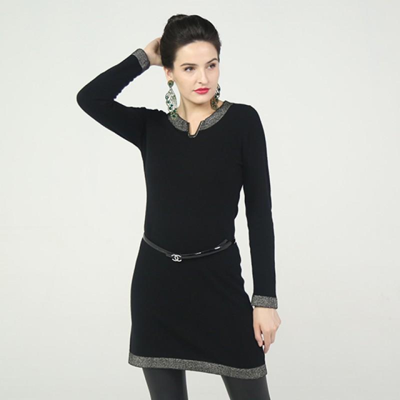 法国LC100%纯山羊绒V领裙加长两用款·黑色