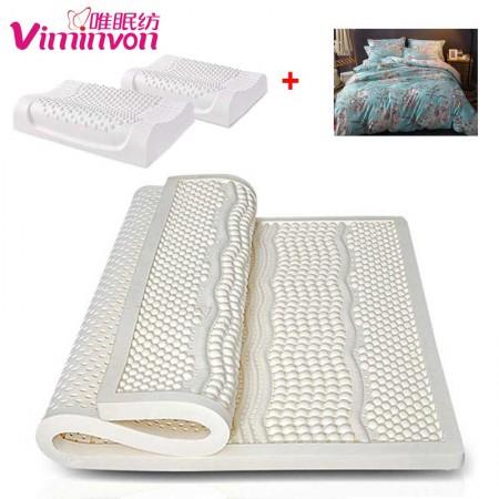 唯眠纺乳胶按摩床垫1.8米(送乳胶枕2个+全棉四件套)