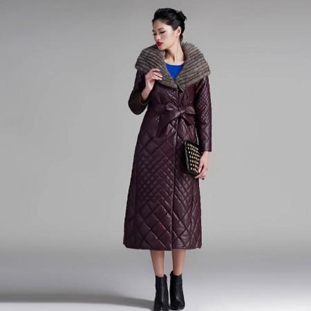 法国恺瑞水貂帽女士羊皮大衣·紫红色