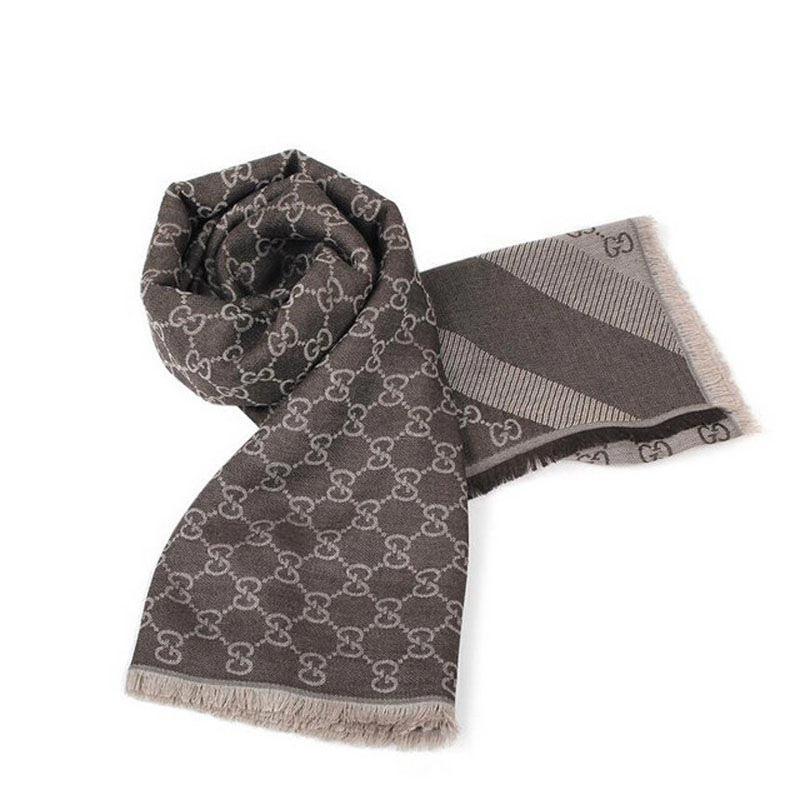 GUCCI经典款提花羊毛大方巾·黑灰色