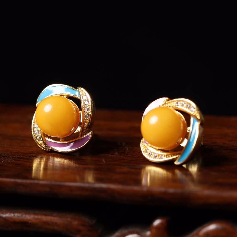 曼丽翠S925银珐琅蜜蜡圆珠耳钉