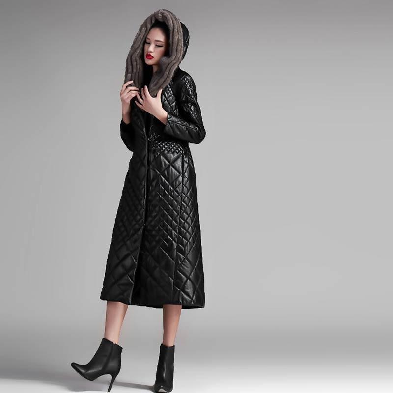 法国恺瑞水貂帽女士羊皮大衣·黑色