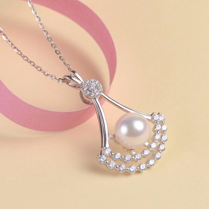 银生S925银灵扇款珍珠吊坠
