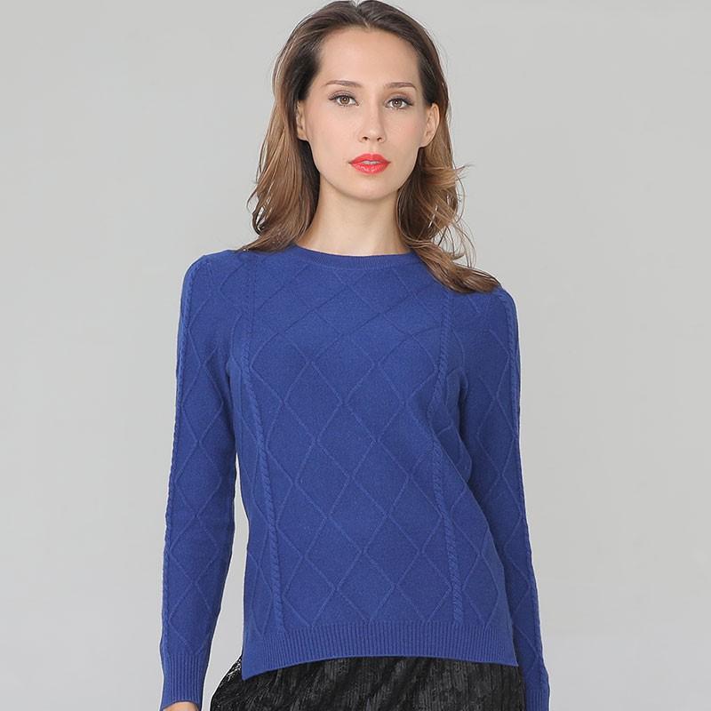 鳄鱼恤纯山羊绒女士圆领衫·宝蓝色