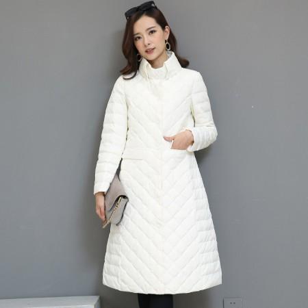 黛莉公主2017新款韩版菱形格中长款轻型羽绒服DLQ5983·白色 (特价清仓 不退不换)