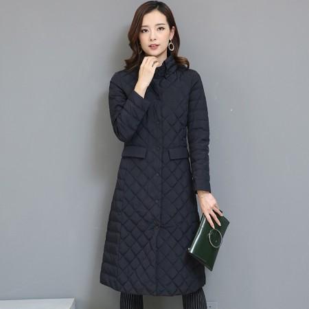 黛莉公主2017新款韩版菱形格中长款轻型羽绒服DLQ5983·黑色 (特价清仓 不退不换)