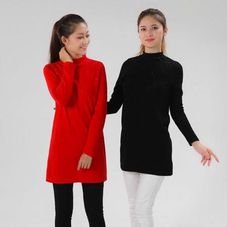恒源祥集团彩羊闪耀璀璨长款羊绒衫·黑色