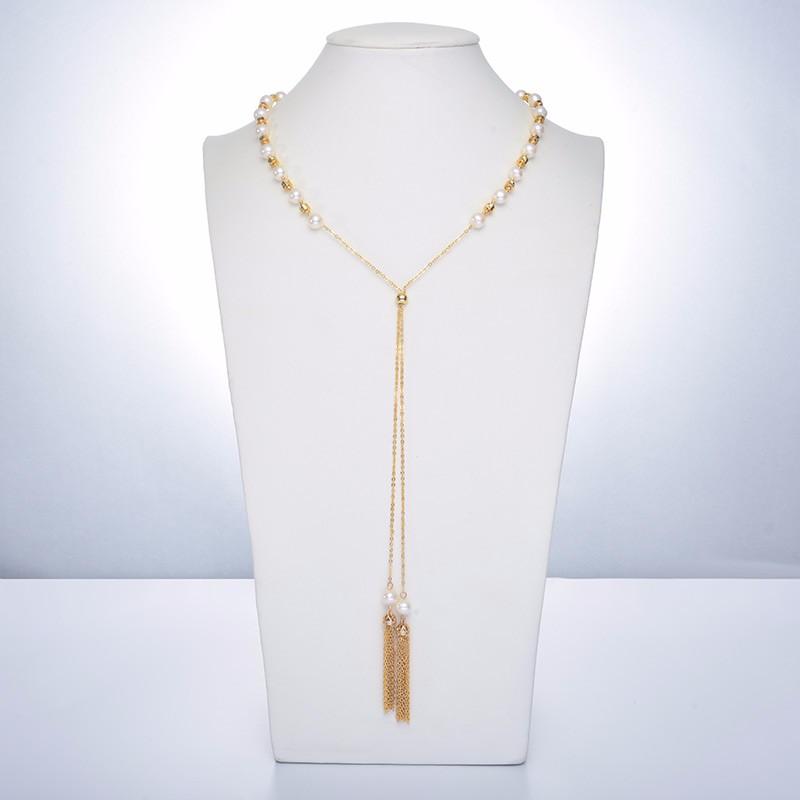 水年华秋冬中国风可调节长款珍珠项链