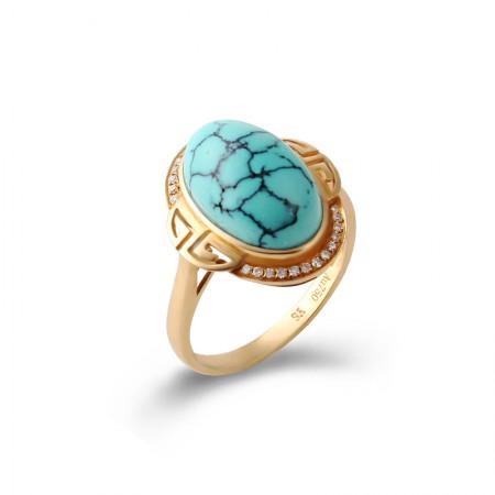 映时豪华气质水纹绿松石戒指