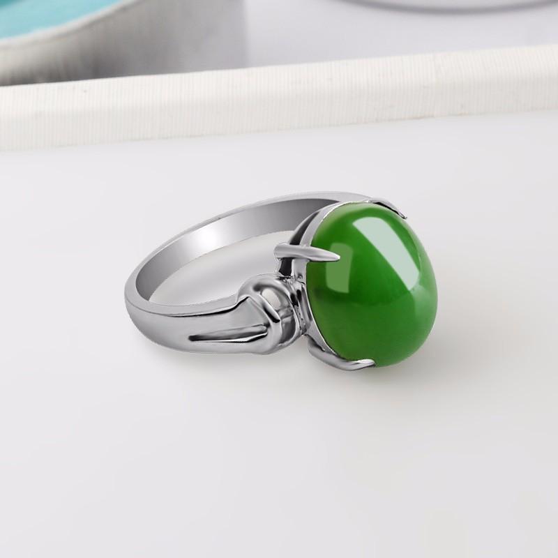 映时碧玉菠菜绿女款戒指