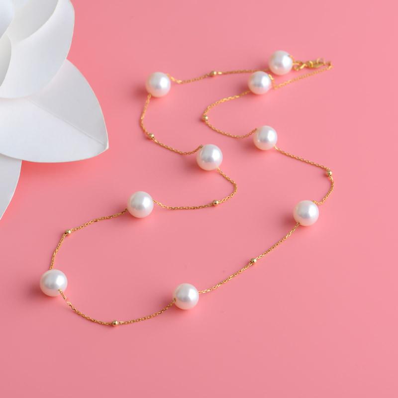 安妮星光璀璨18K金珍珠项链