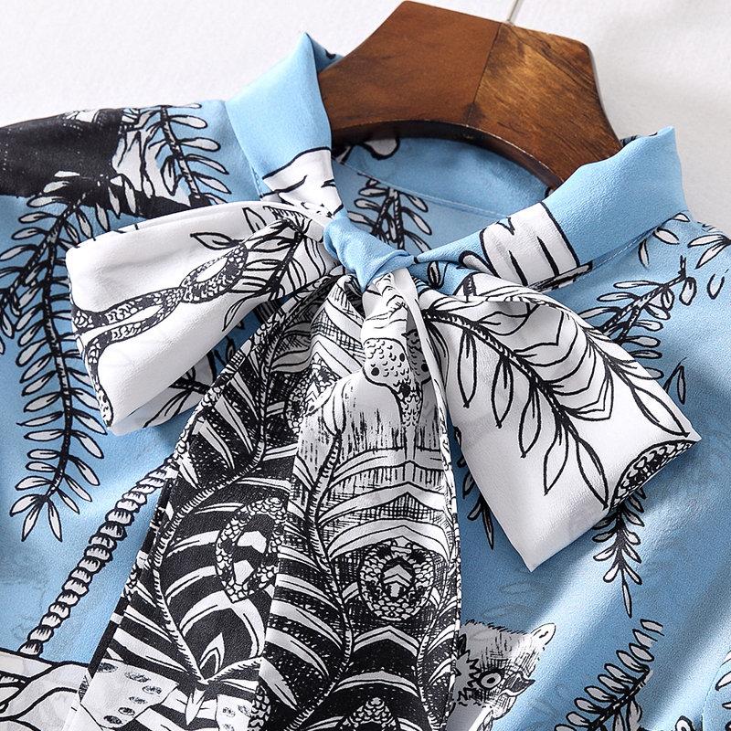 今升 大飘带蝴蝶结长袖真丝女衬衫·淡蓝色