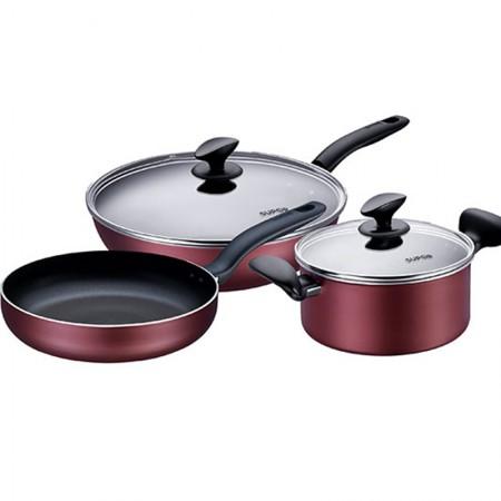 苏泊尔锅具套装三件套厨具组合炒锅不粘锅无油烟电磁炉燃气灶通用T1314T