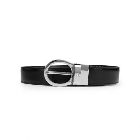 Montblanc(万宝龙)男士镀金可旋转银色针扣皮带/腰带120厘米38579黑色·黑色