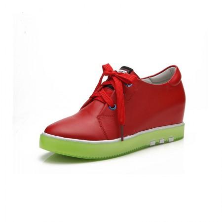 Garthphil 牛皮圆头厚底内增高系带小白鞋女·红色绿底