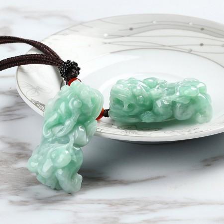 满记冰糯满绿色辣双貔貅天然A货翡翠挂件(一对价)