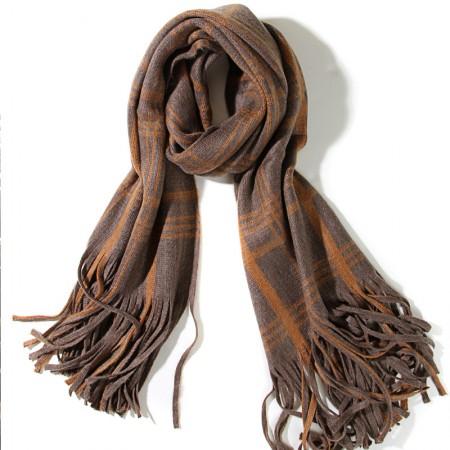 SSYAOGE 英伦复古大格子大流苏羊毛围巾1707·咖色