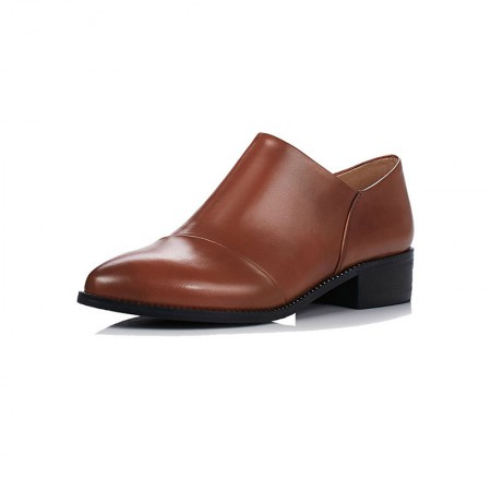贝奴诗 真皮粗跟尖头深口单鞋女中跟小皮鞋英伦风女鞋·棕色超纤