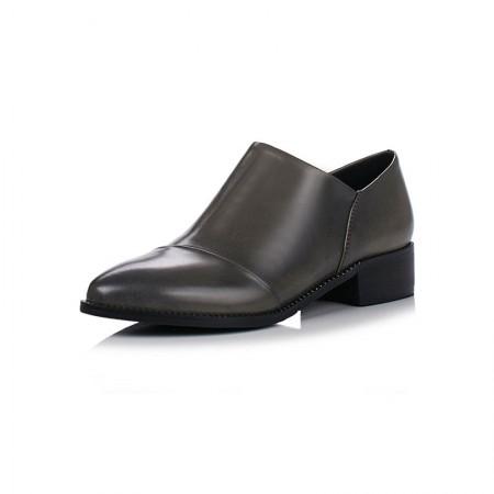 贝奴诗 真皮粗跟尖头深口单鞋女中跟小皮鞋英伦风女鞋·灰色超纤