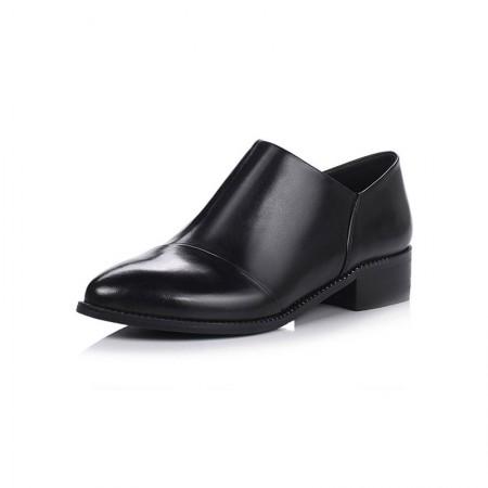 贝奴诗 真皮粗跟尖头深口单鞋女中跟小皮鞋英伦风女鞋·黑色超纤