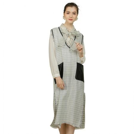 莉莉的女装V领格纹无袖宽松编织流苏背心裙子LL216309003·白色