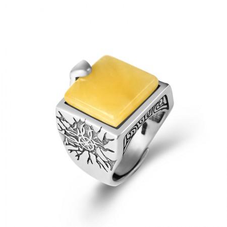 卓凡复古手工搭配琥珀蜜蜡戒指