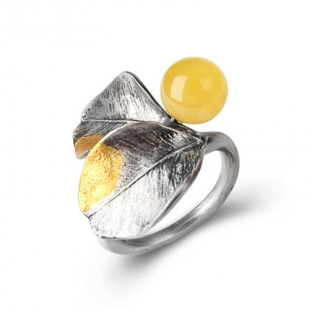 卓凡时尚手工树叶蜜蜡戒指