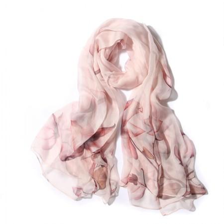 丁摩 桑蚕丝围巾真丝围巾沙滩巾真丝披肩W014·花·香