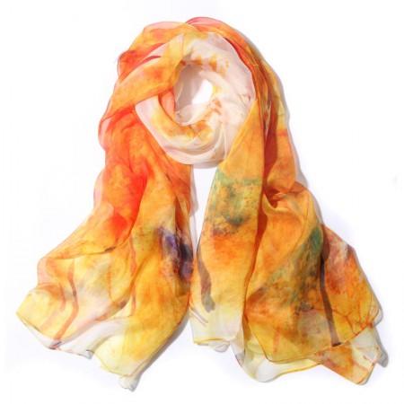 丁摩 桑蚕丝围巾真丝围巾沙滩巾真丝披肩W014·绽·放