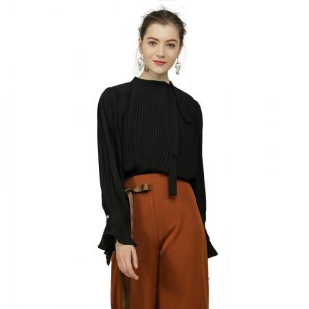 莉莉的长袖雪纺立领百褶喇叭袖纯色打底衫LL8103007·黑色