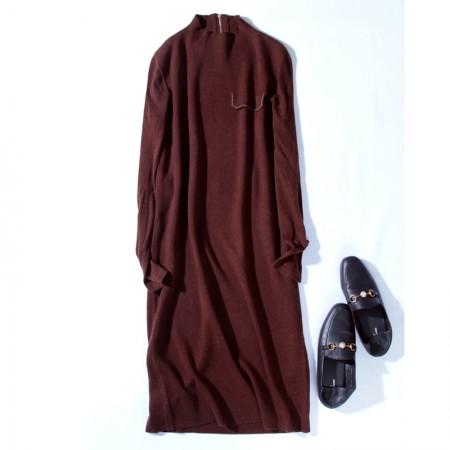 SSYAOGE 半高领针织软糯修身羊毛内搭打底毛衣连衣裙004·咖色