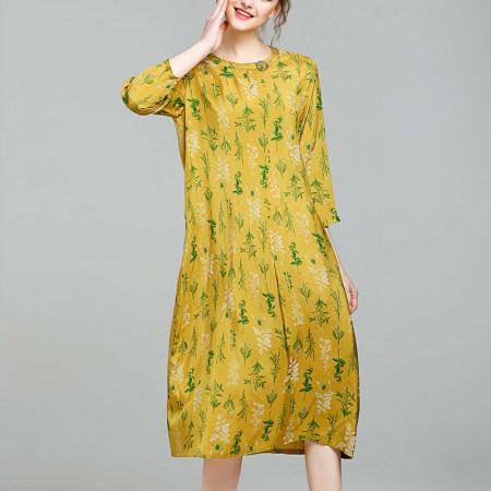 丁摩 冰丝圆领黄色碎花连衣裙0102·黄色