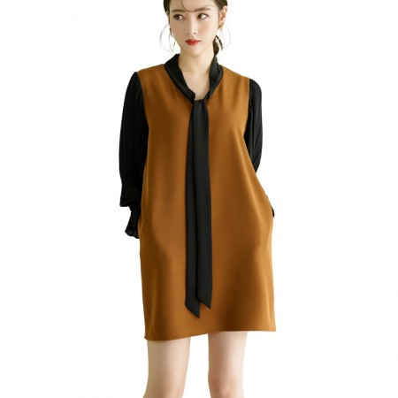 莉莉的H型拼接连衣裙褶皱喇叭袖打底裙系带蝴蝶结裙子LL7104017·墨绿