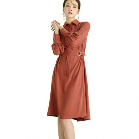 莉莉的长袖中长款衬衫连衣裙系带收腰显瘦复古衬衫LL7103019·鹦鹉粉