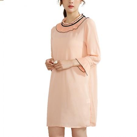 莉莉的雪纺连衣裙宽松显瘦七分袖荷叶边连衣裙LL6304040·桃粉色